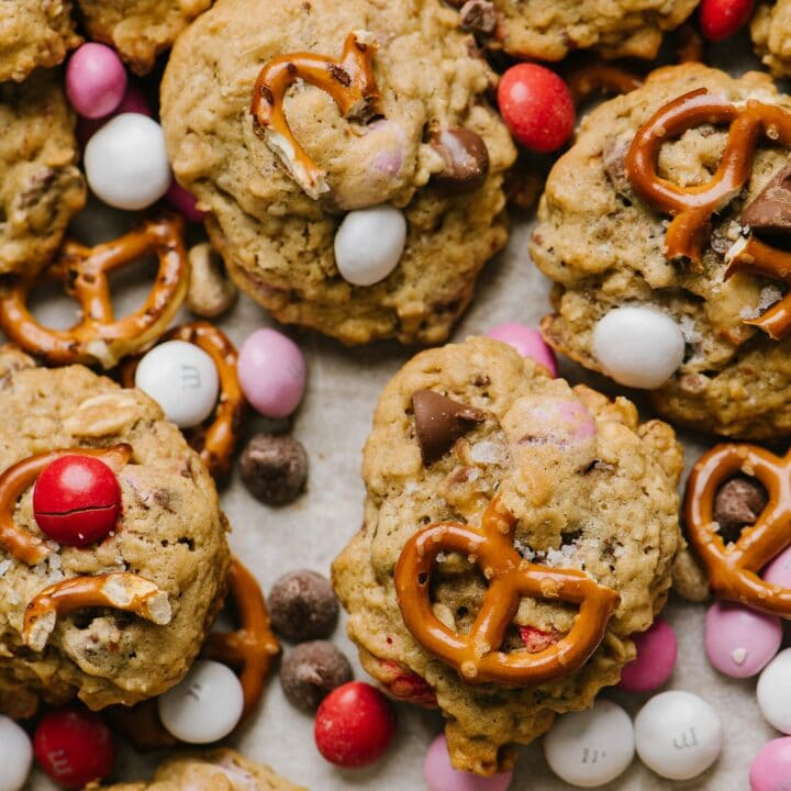 close up shot of Salted Peanut Butter Pretzel Cowboy Cookies