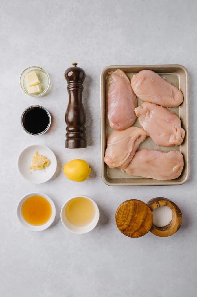 ingredients for honey garlic balsamic chicken