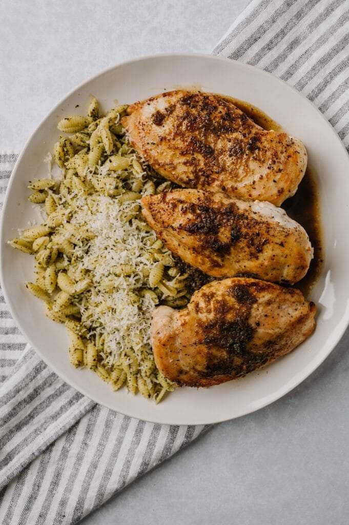 platter of honey garlic chicken and pesto pasta