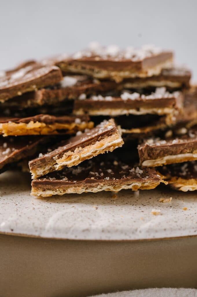 close up of platter of salted matzah toffee
