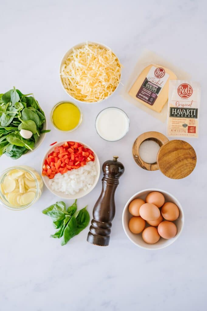 ingredients for cheesy baked frittata
