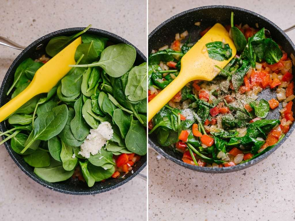 spinach, onions, peppers, and garlic being cooked in a pan