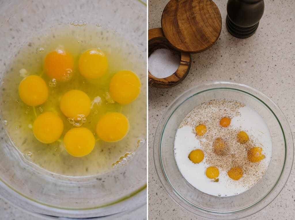 eggs and milk in a bowl next to salt and pepper