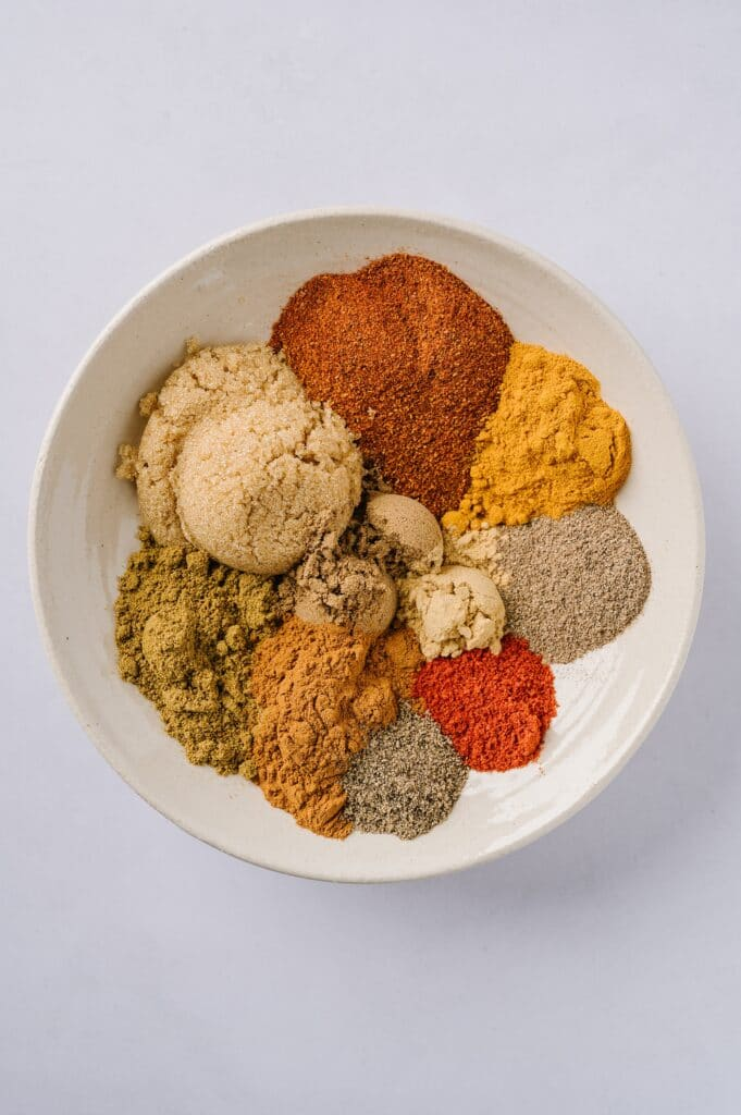 bowl of moroccan spice rub ingredients