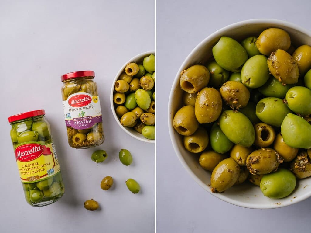 two jars of olives with a close up of olives