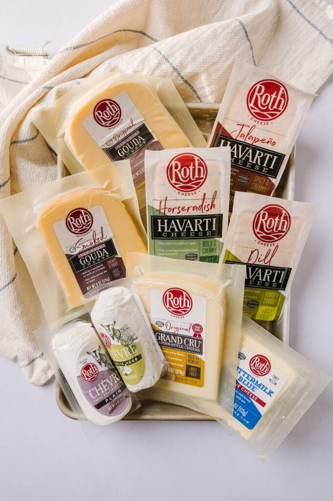 different kinds of Roth cheese on a pan