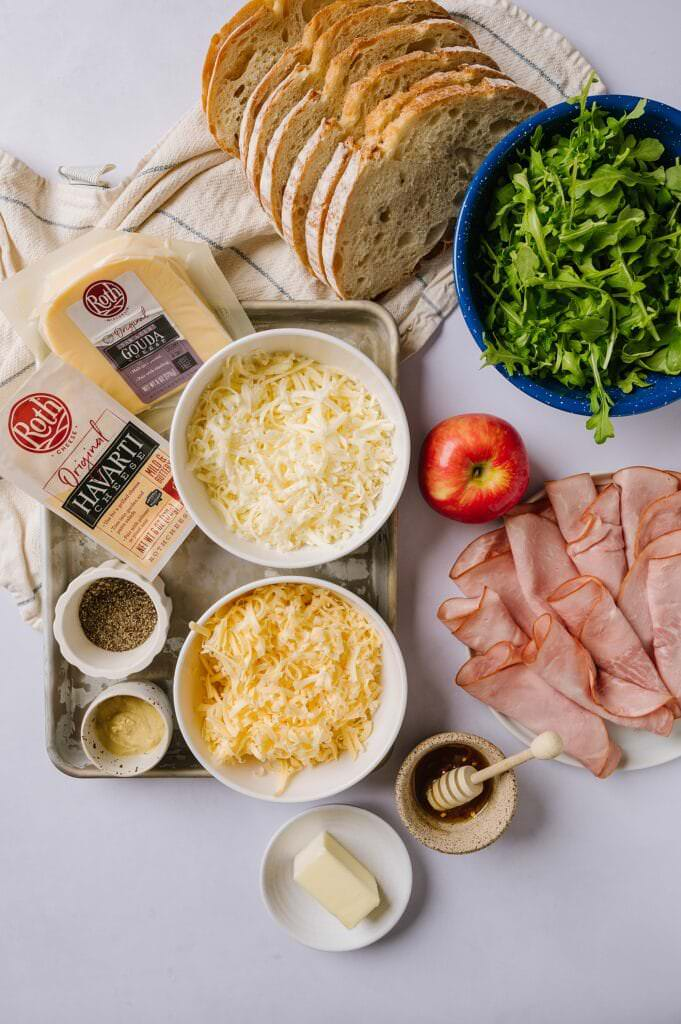 ingredients for hot honey ham and cheese
