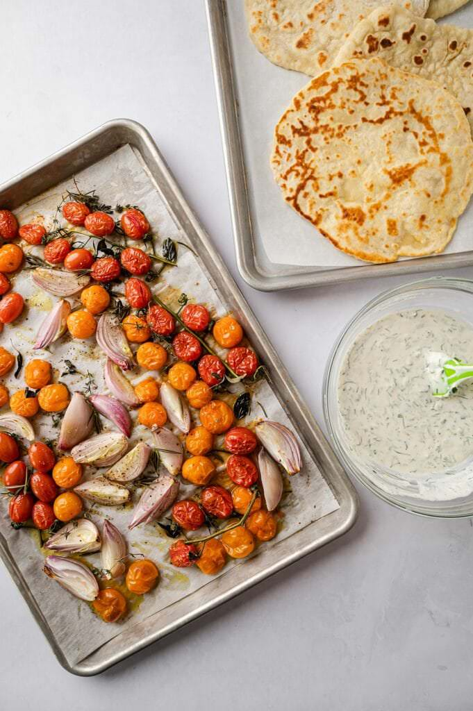 roasted tomatoes, homemade flatbread, and goat cheese dip