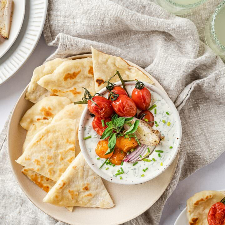 Whipped Herbed Goat Cheese with Roasted Tomatoes and Homemade Flatbreads
