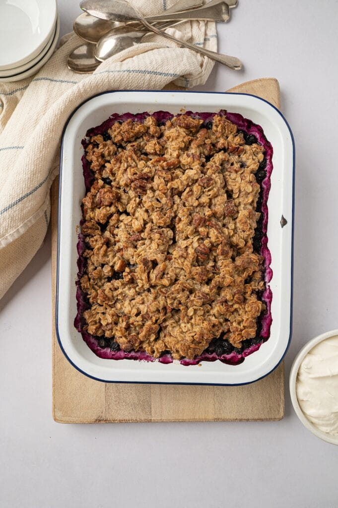 finished gluten free blueberry crisp in a dish