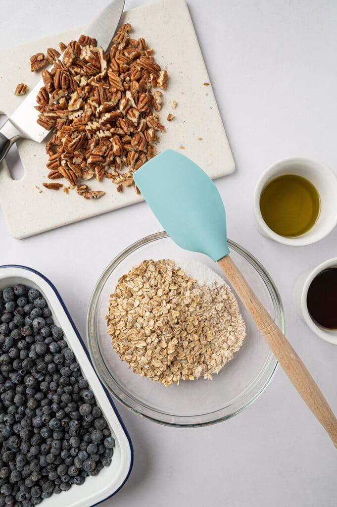 ingredients for gluten free blueberry crisp