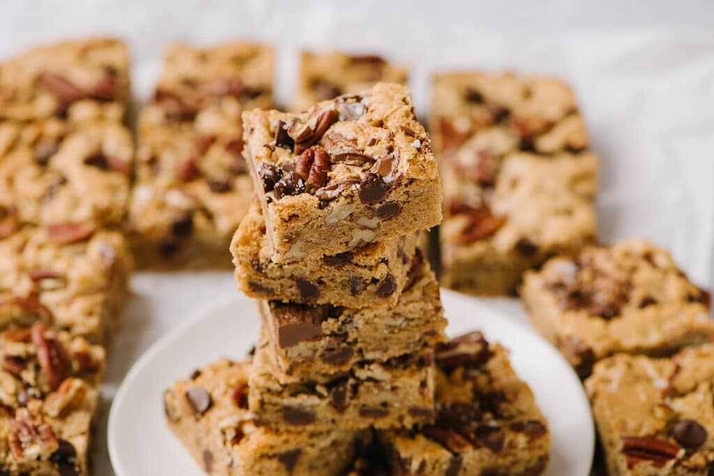 stacked salted brown butter blondies