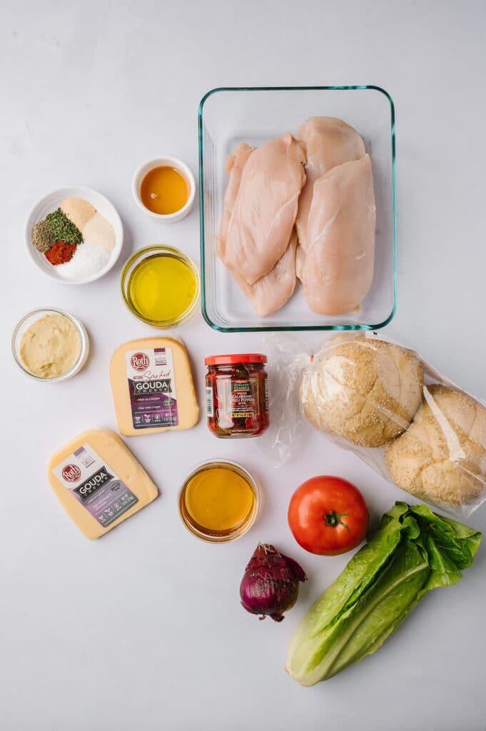 ingredients to make hot honey grilled chicken sandwich