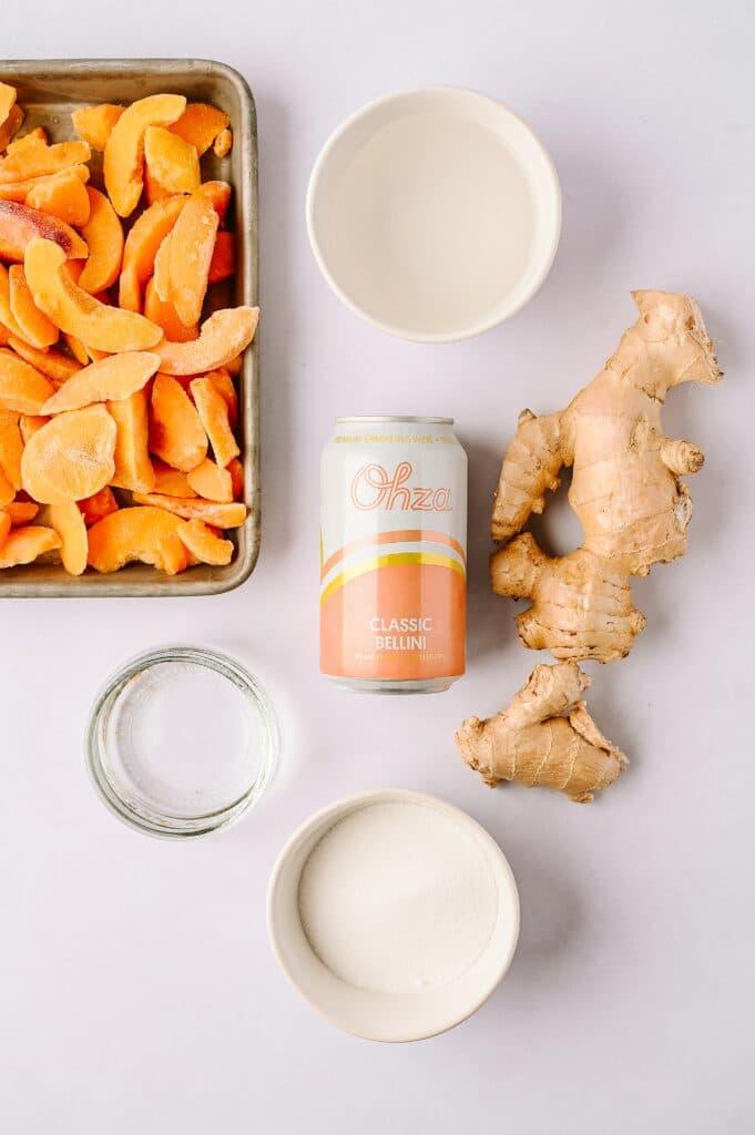 ingredients for peach ginger bellini