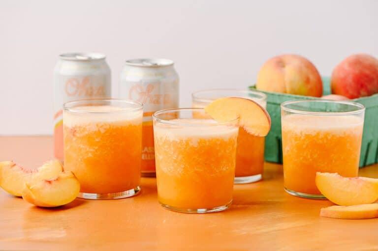 frozen peach ginger bellinis