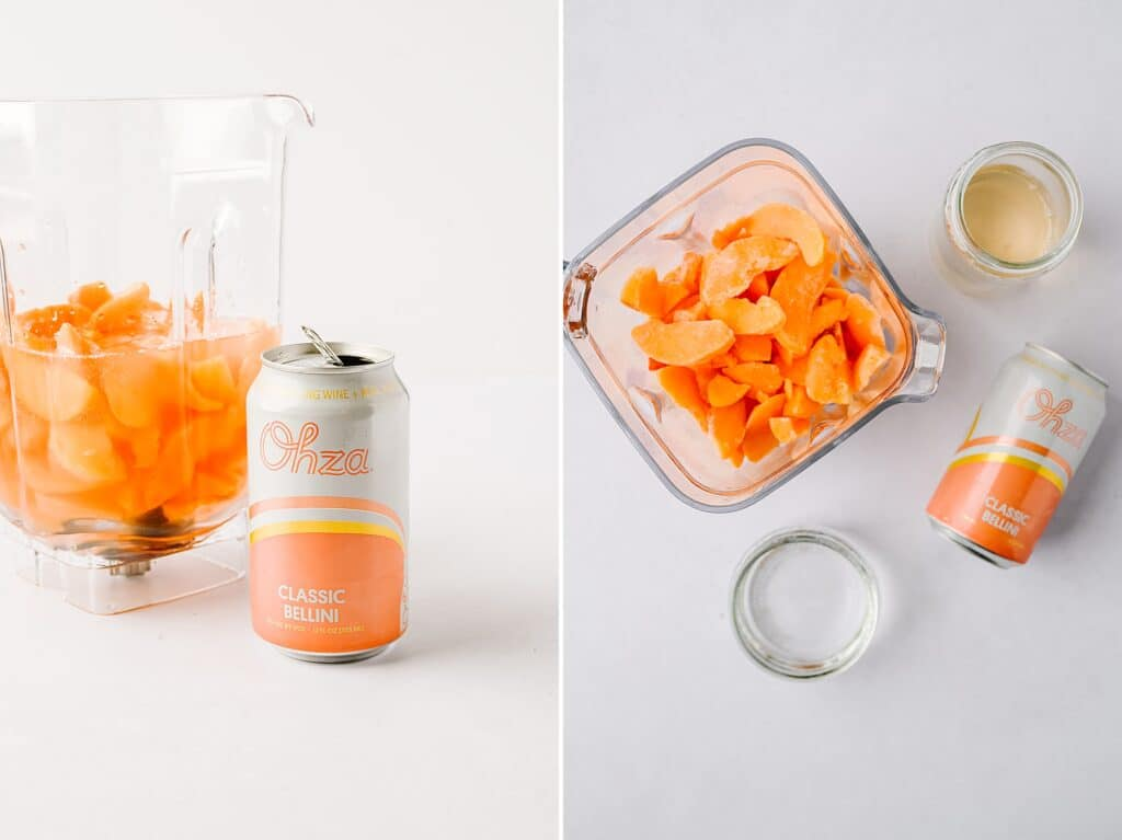 ohza and frozen peaches in a blender