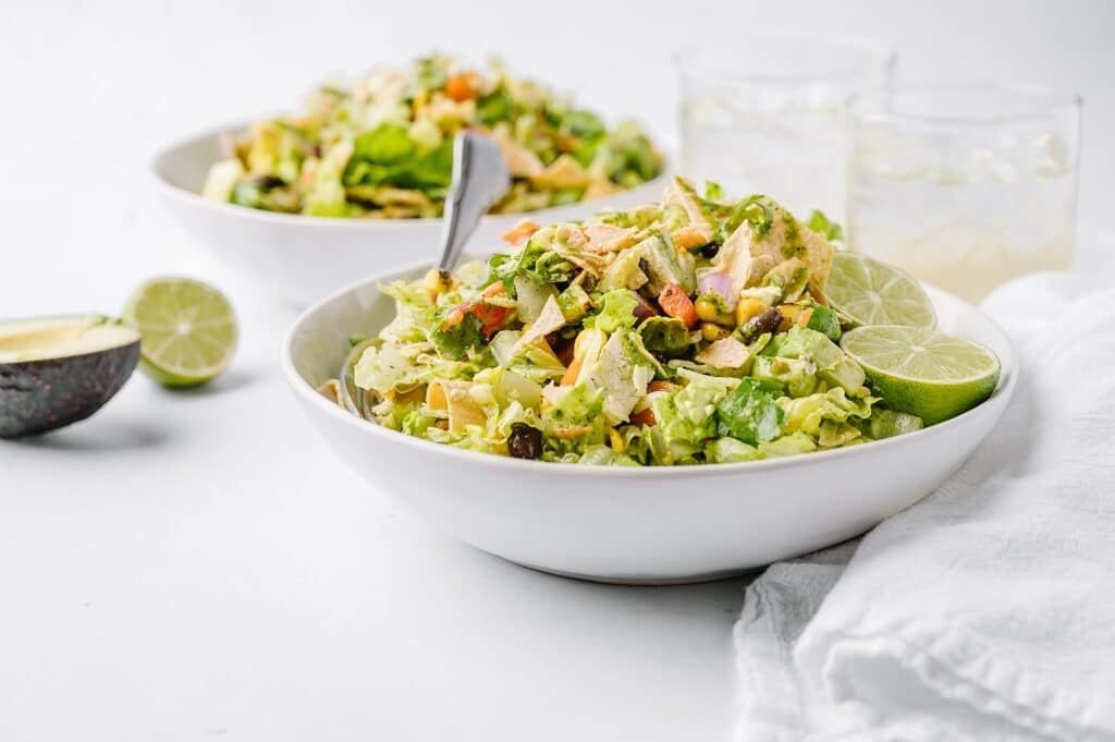 bowls of Mexican Chicken Salad with Honey Cilantro Dressing