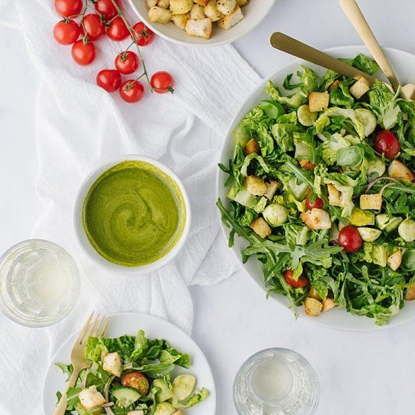 Arugula Caprese Salad with Lemon Basil Dressing and Homemade Croutons